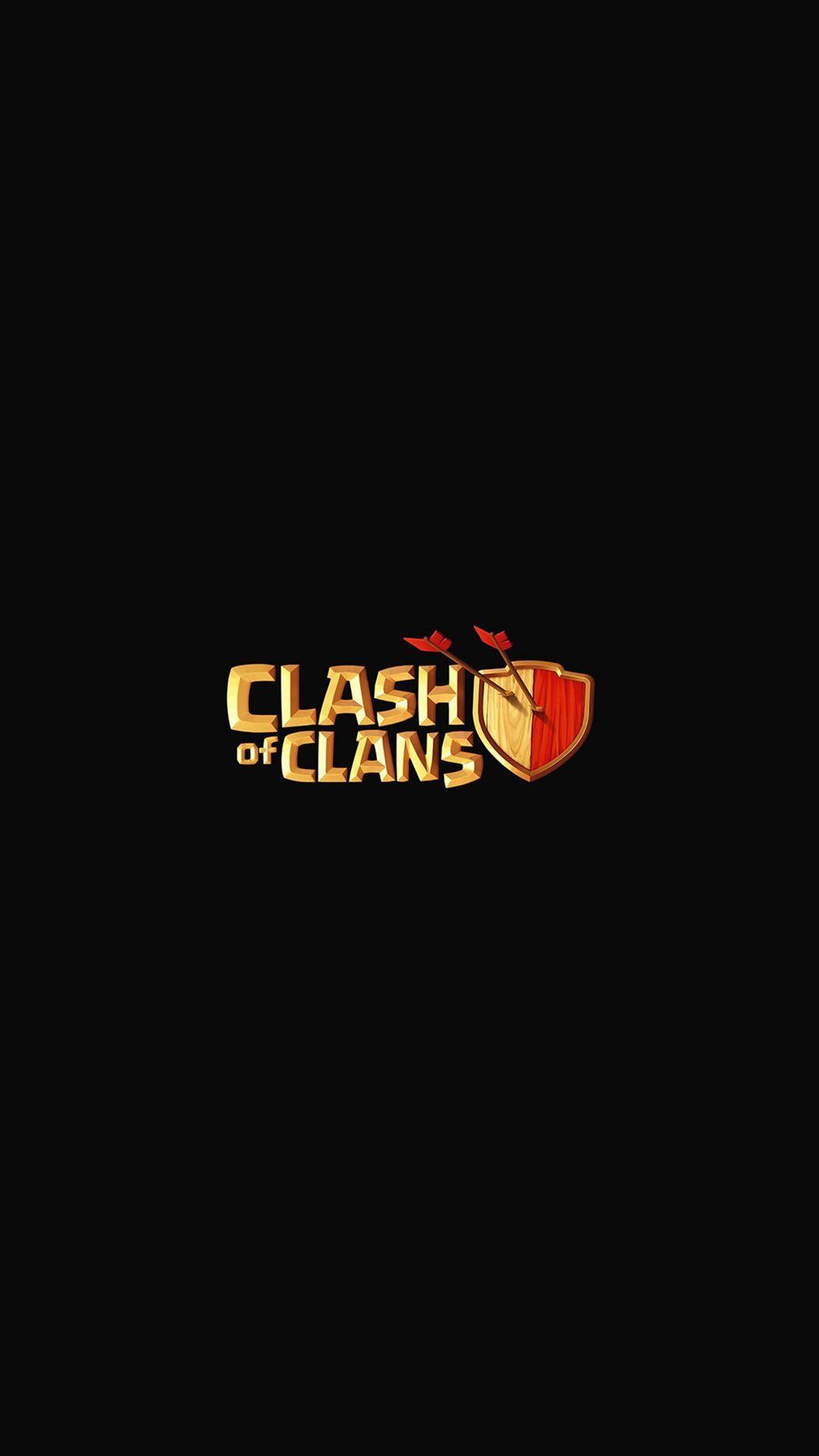 Clash Of Clans Logo Art Dark Game Iphone Plus Wallpaper
