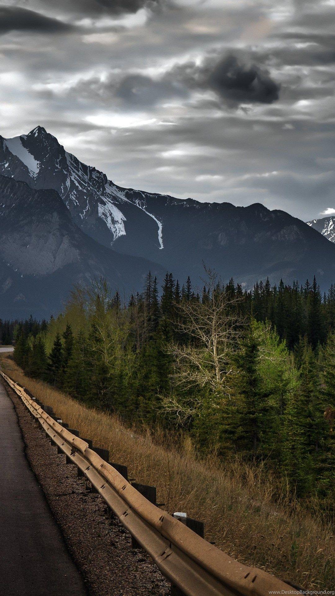 Download Jasper Alberta Canada Canadian Rockies Mountain Road Forest Trees