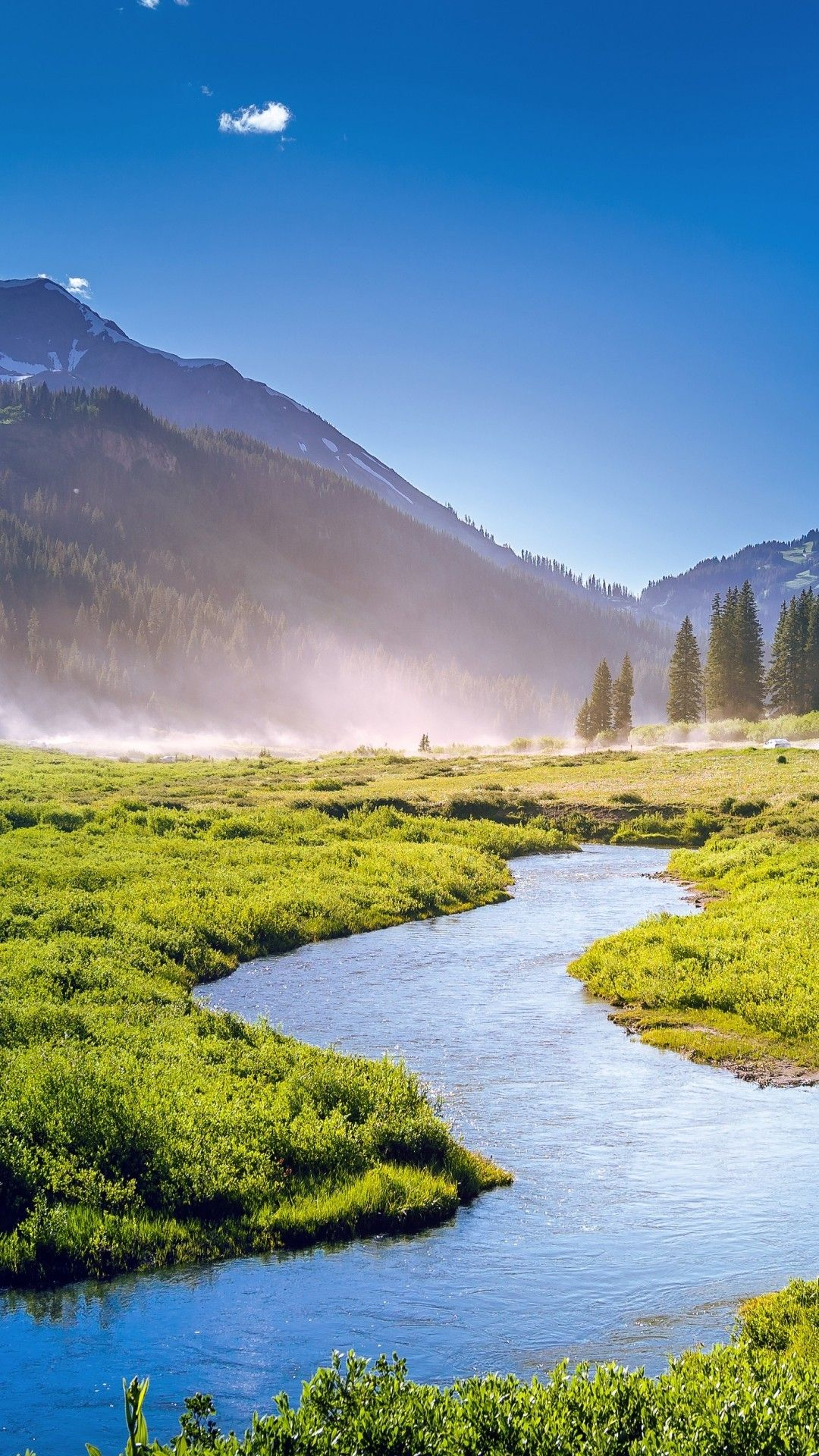 Download Usa, Colorado Landscape, Stream, Field, Sunlight, Trees,