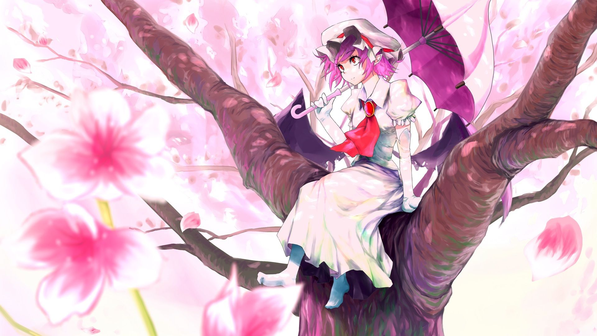 Download Wallpaper Kanchigai, Sakura, Girl, Petals, Touhou, Tree, Art, Time