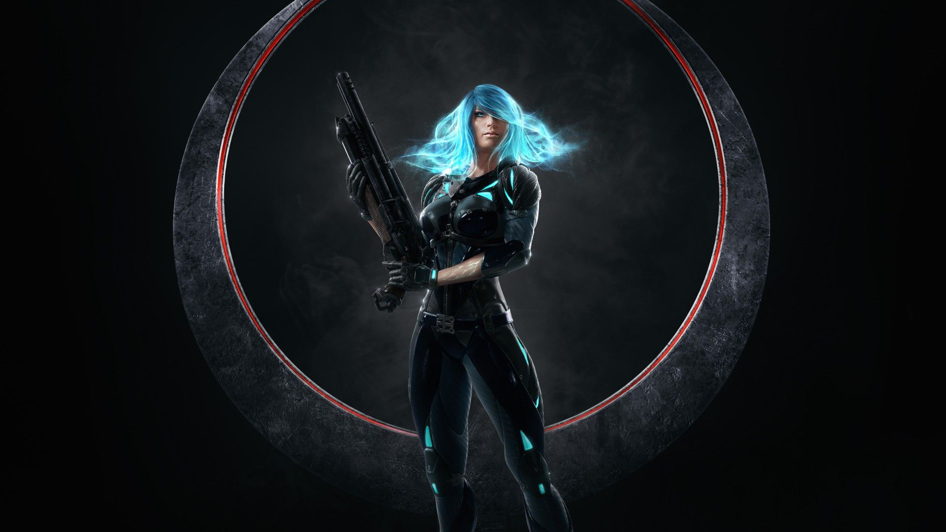Download Wallpaper Weapon Girl Quake Blue Hair Champions
