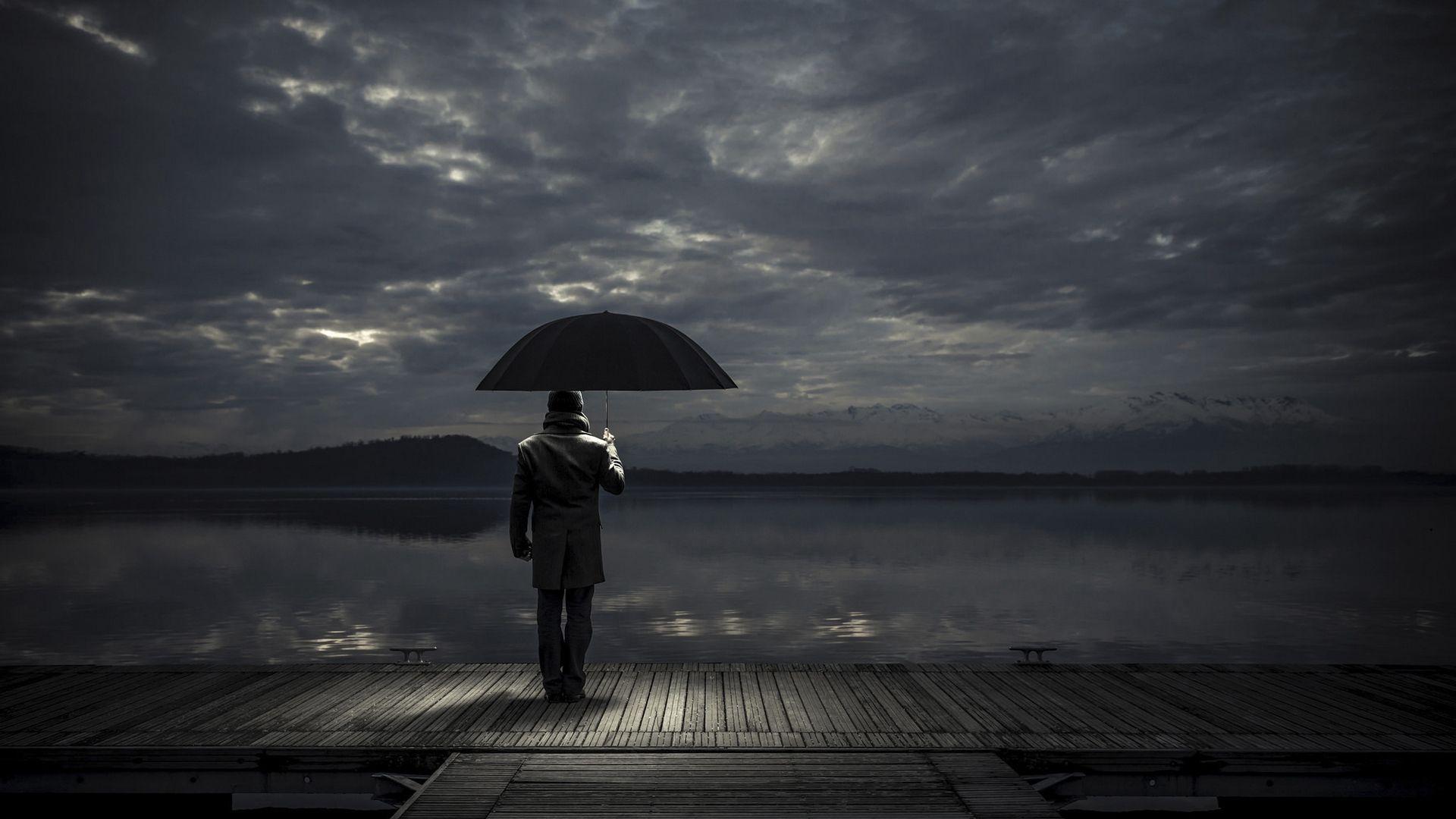 Download Man, Umbrella, Night, Pier Wallpaper, Background Full Hd
