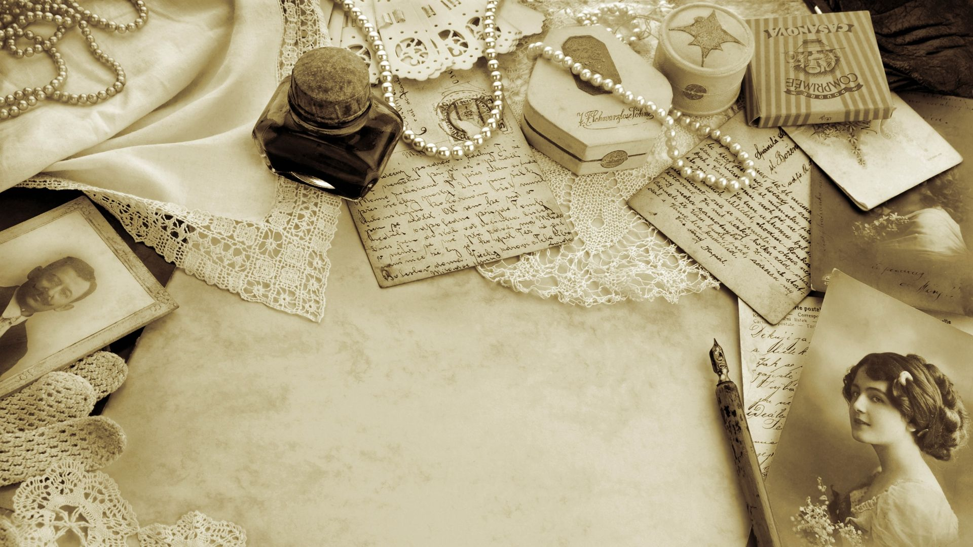 Download Table Antique Things Black And White Wallpaper Wallpaper Original