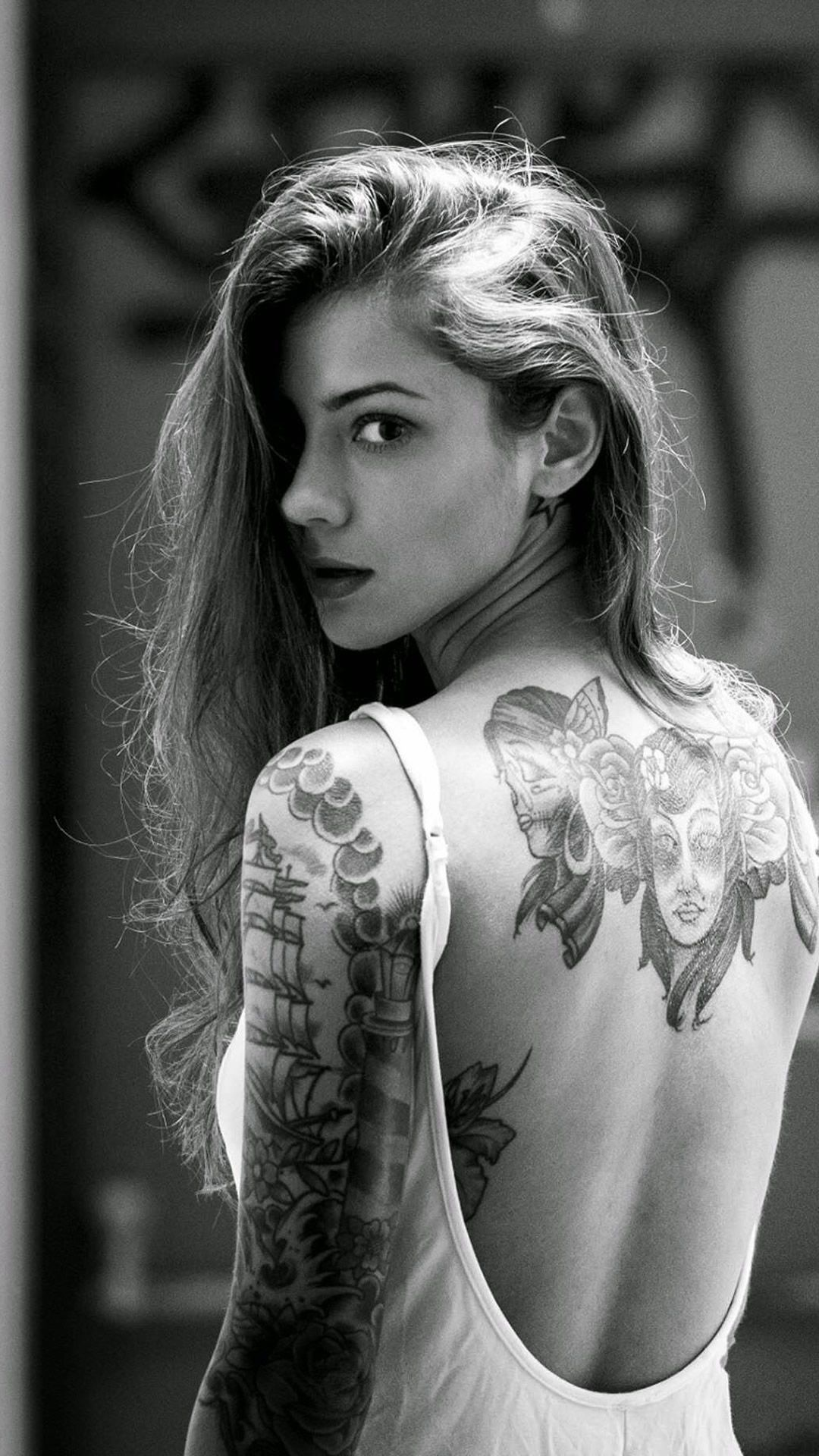 Female Tattoos, Sweet Hot Skull Tattoo Girl Wall