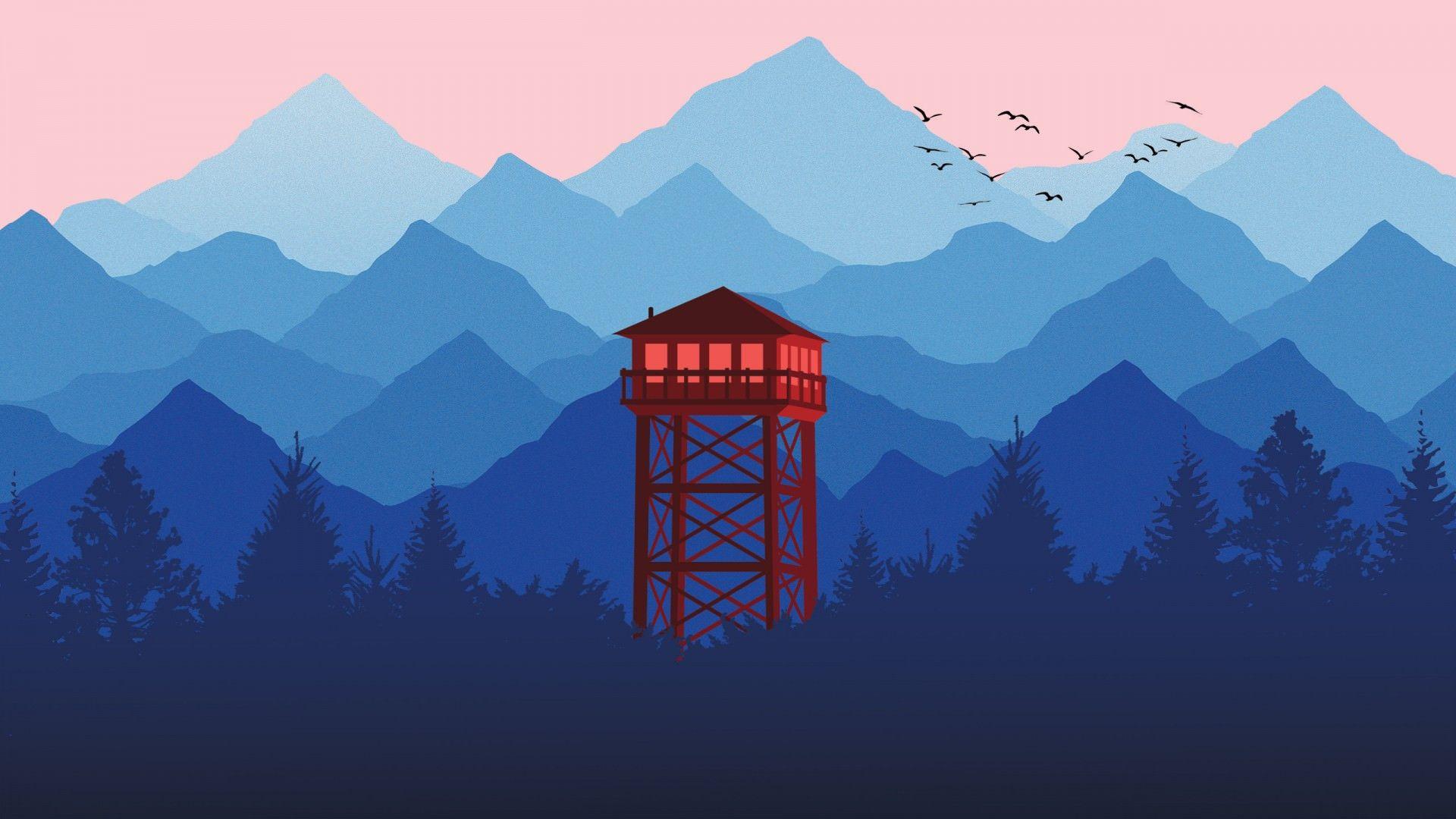 Firewatch Wallpaper Tower Landscape