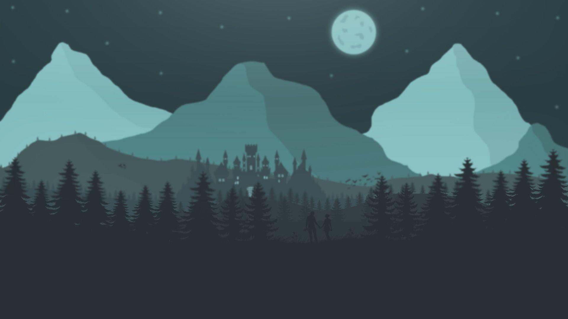 Flat Landscape, Minimalism Wallpapers Mountains