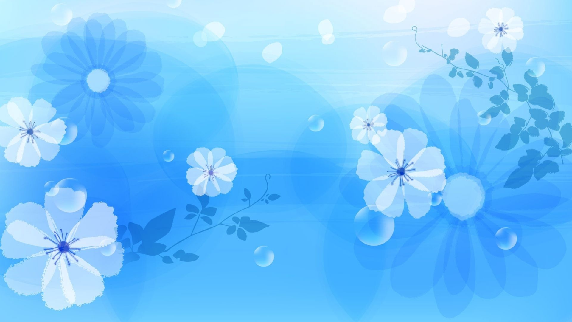 Flowers On Blue Background, Background For Portfolio