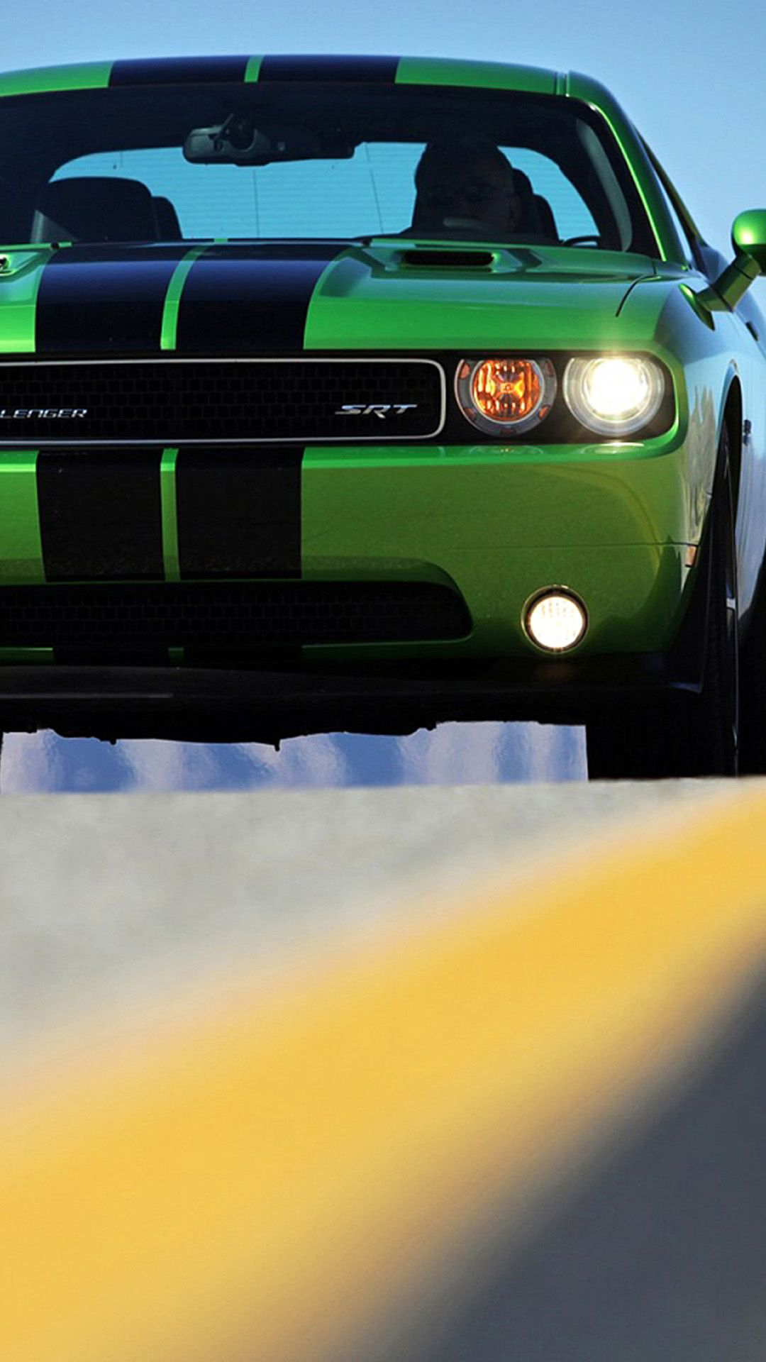 Green Dodge Challenger Hd Wallpaper Iphone Plus
