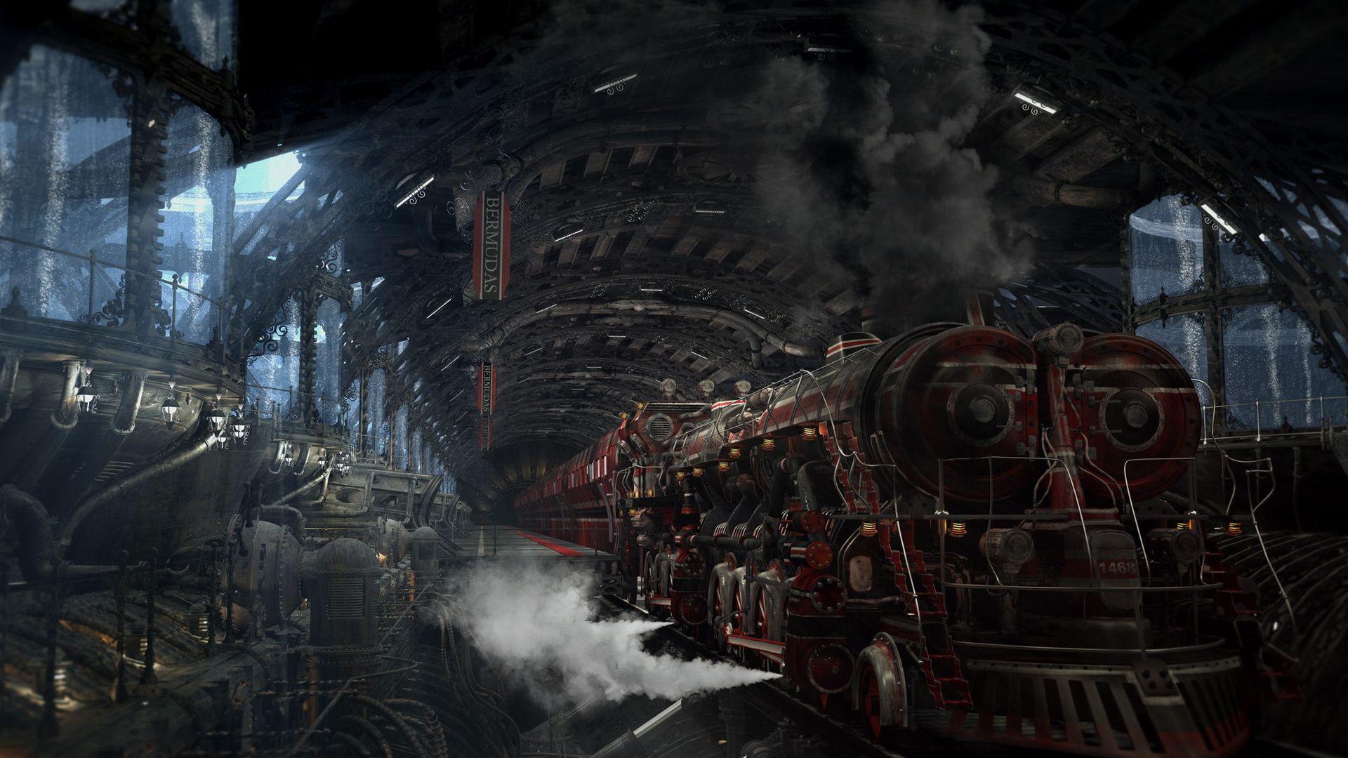 Hd Wallpapers Locomotive, Smoke, Station, Mechanisms Desktop