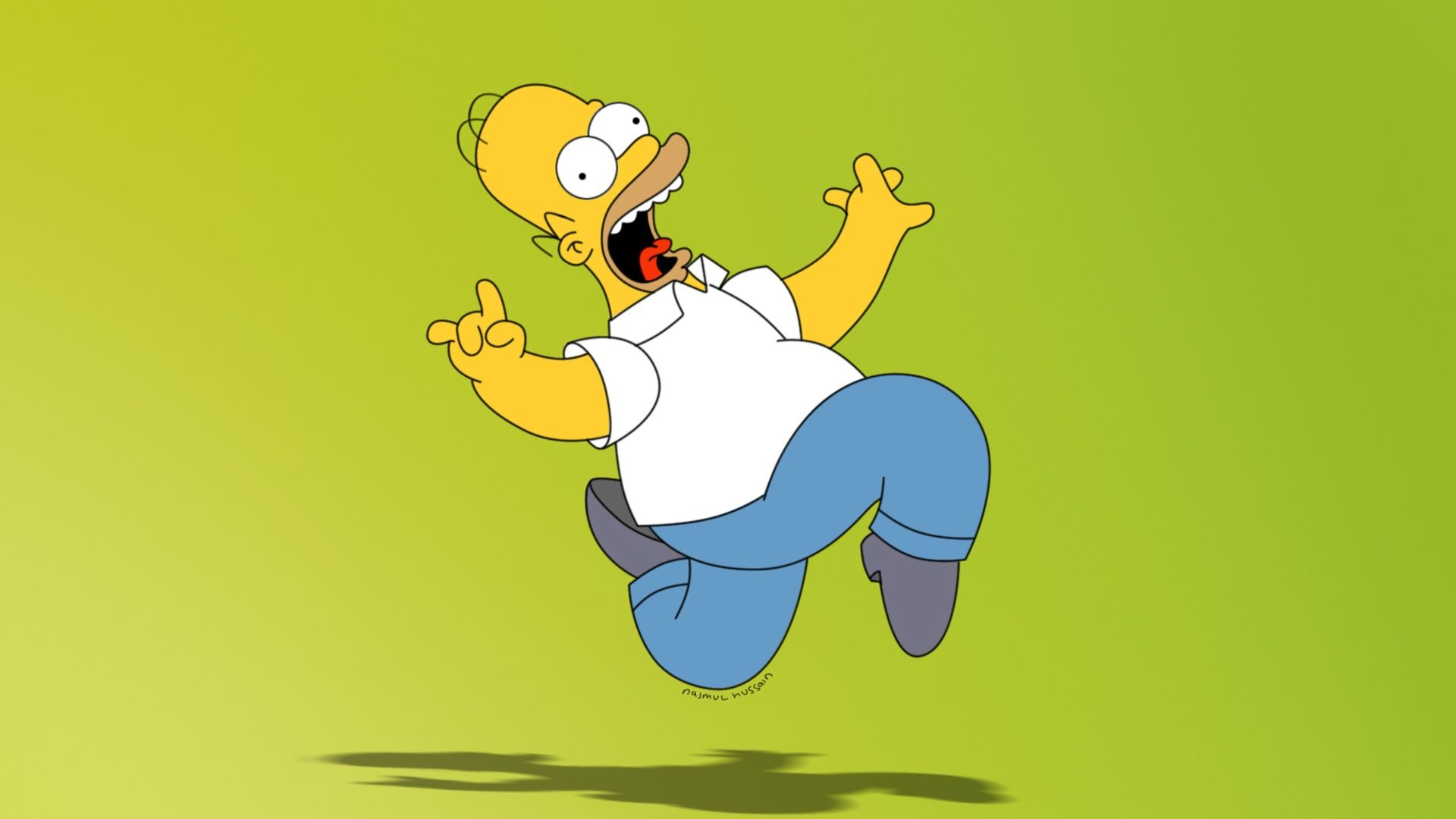 Homer Simpson, The Simpsons, Lime Green Desktop Wallpaper