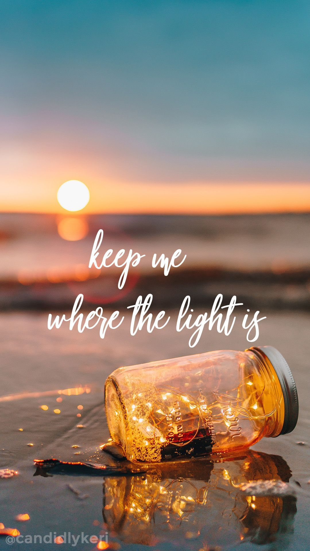 Keep Me Where The Light Is Quote Sunset Mason Jar Wallpaper You Can Download