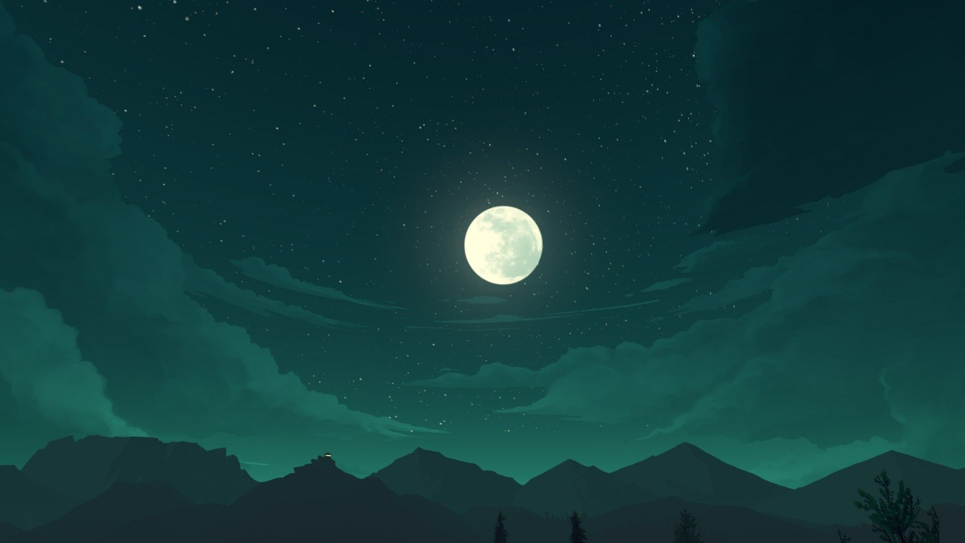 Landscape With Moon And Stars, Firewatch Wallpaper Night