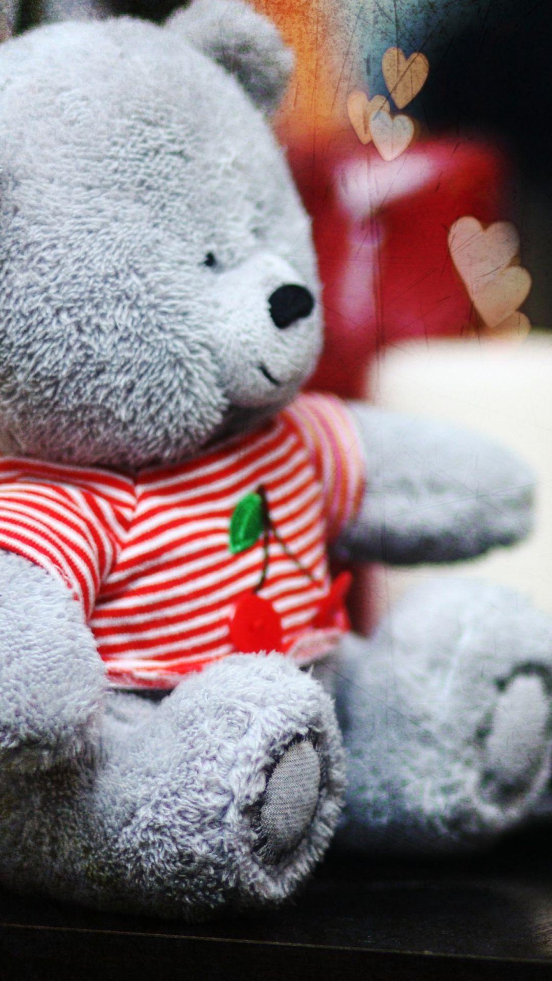 Lovely Grey Teddy Bear Wallpaper