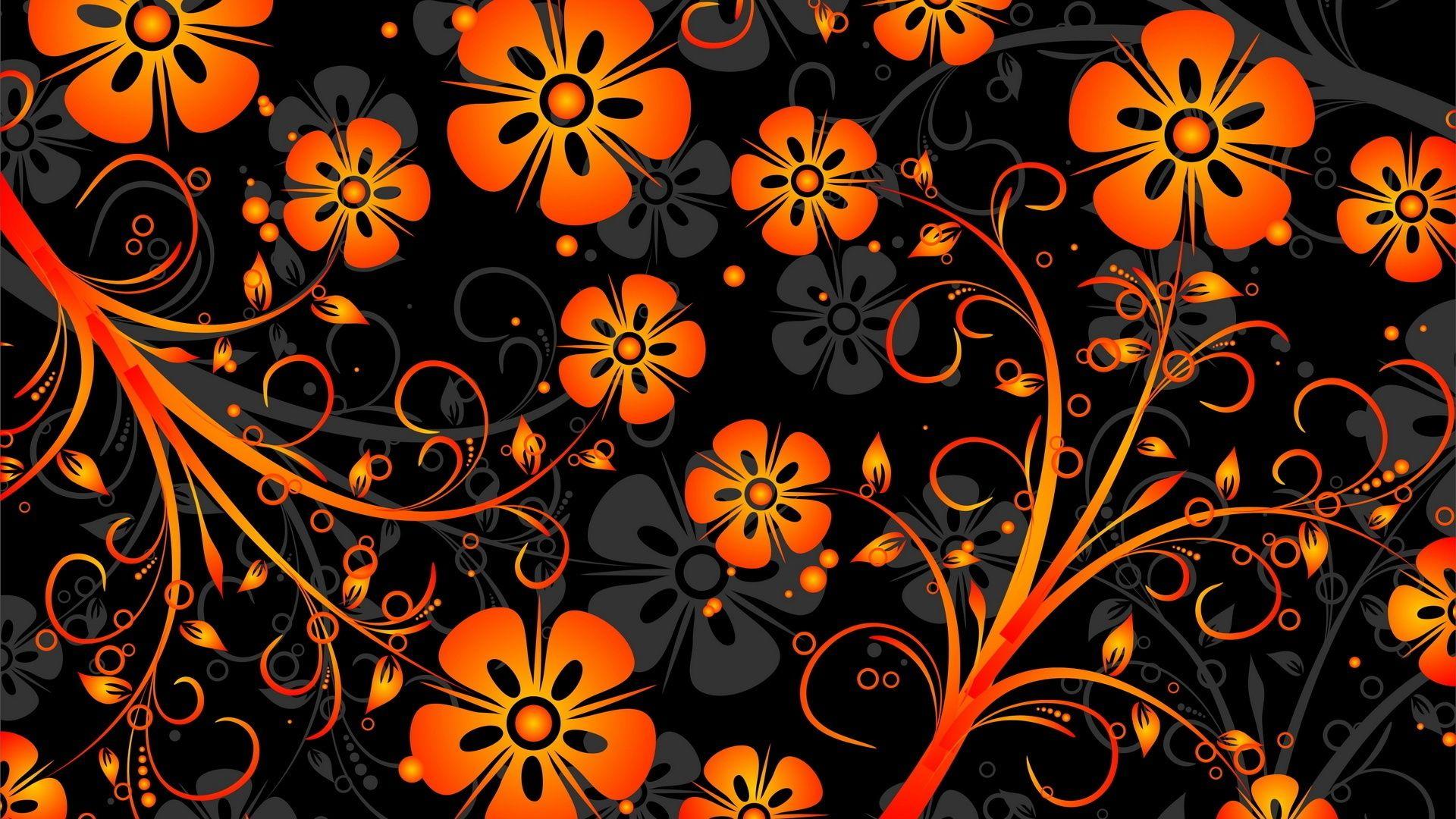 Orange Wallpaper Desktop, Flowers On Black Background