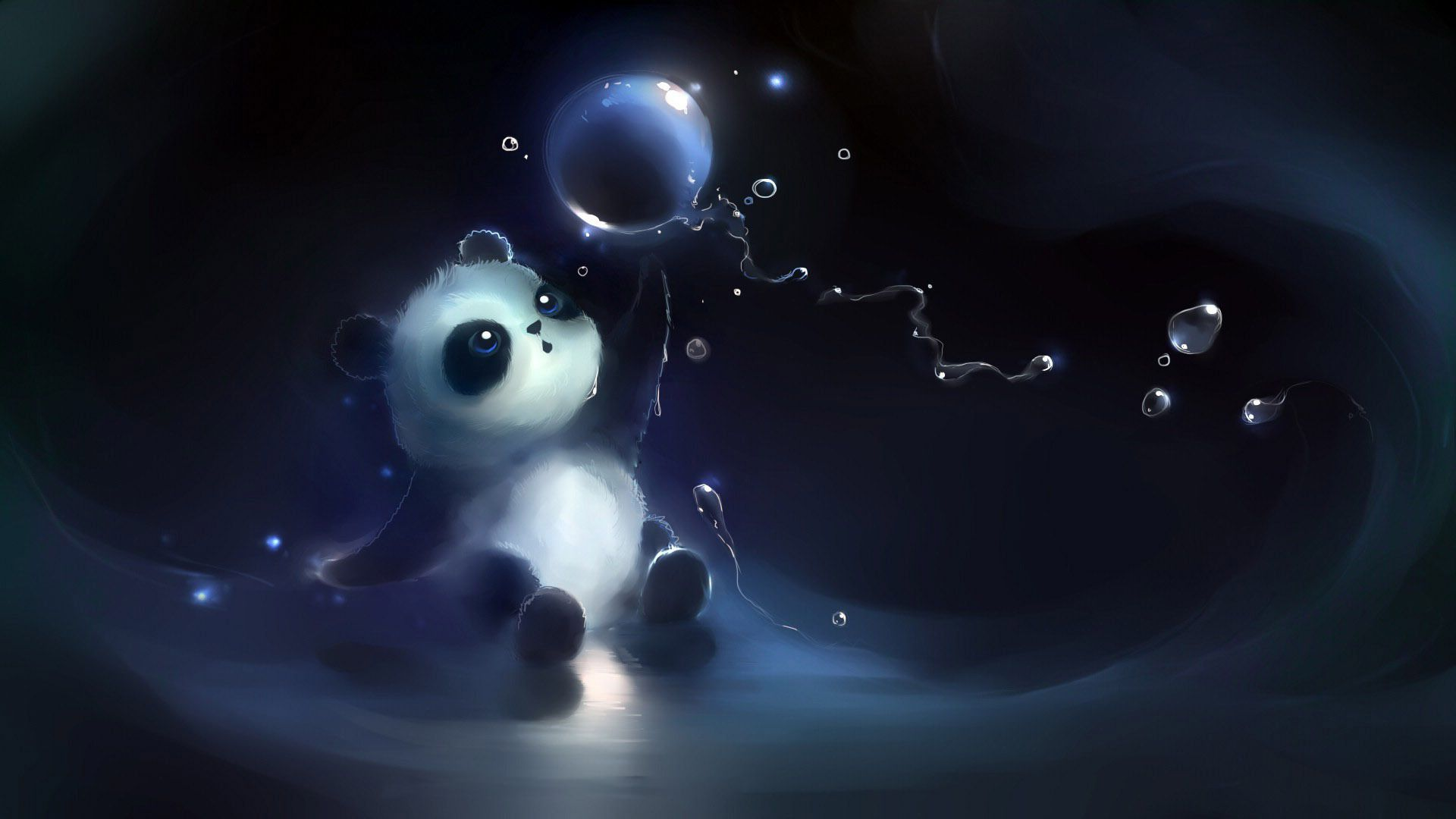 Panda Playing With The Bubble Hd Wallpaper