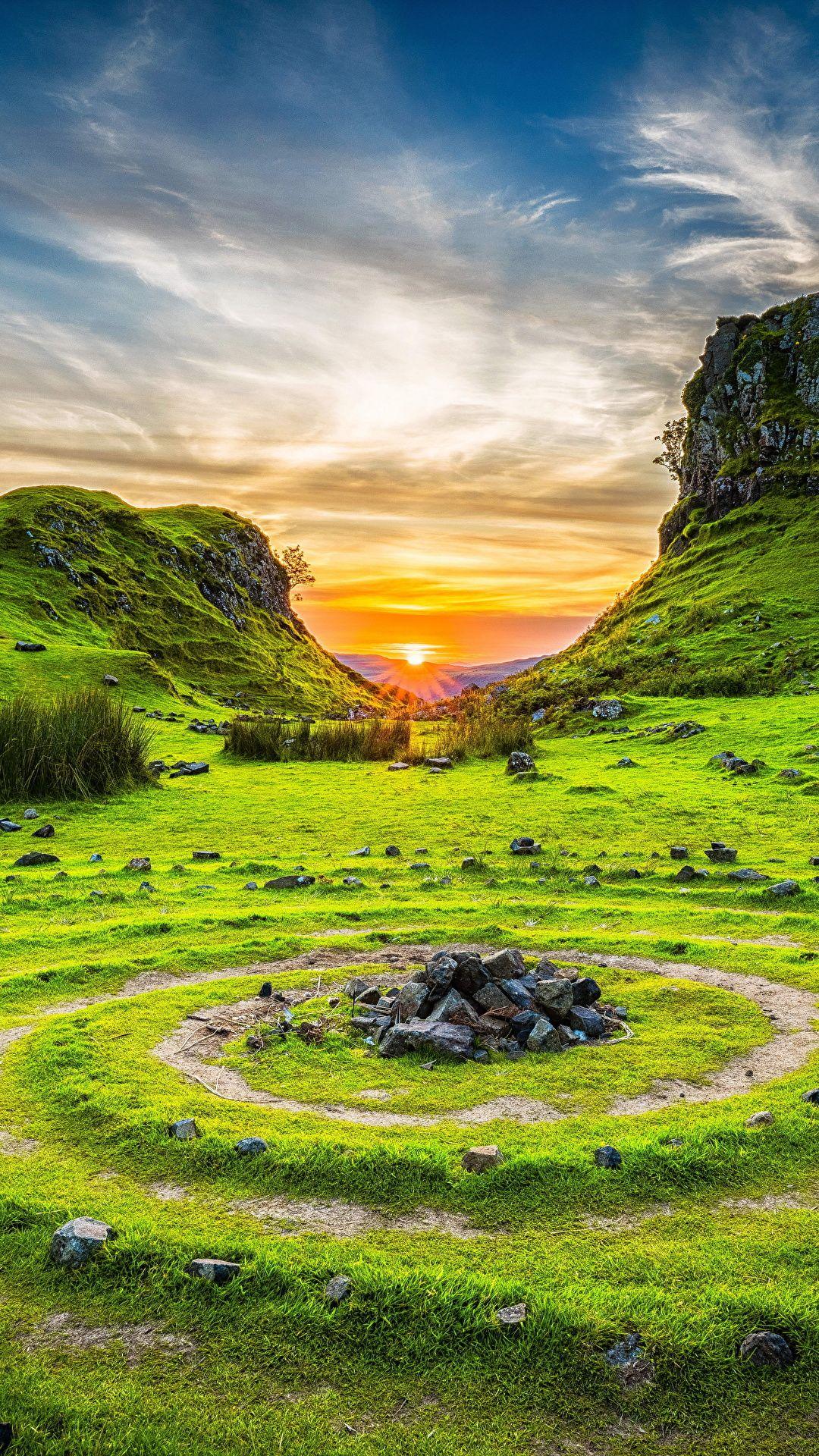 Scenery Sunrises And Sunsets Sky Stones Grass Circles Nature Photo