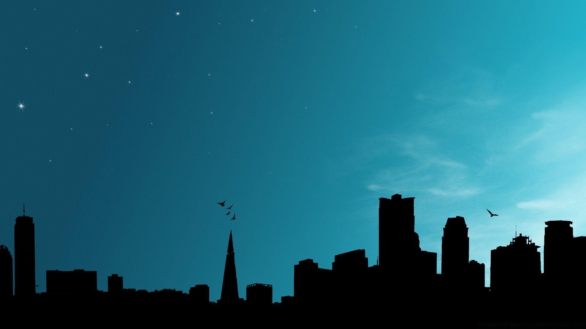 Silhouette Of The Night City Skyline Siluet