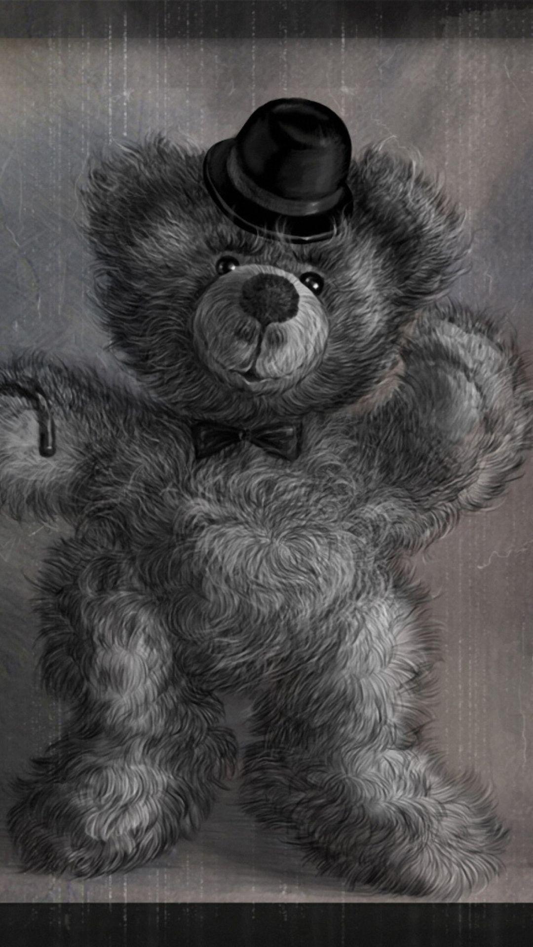 Teddy Bear Gentleman Wallpaper For Iphone Plus
