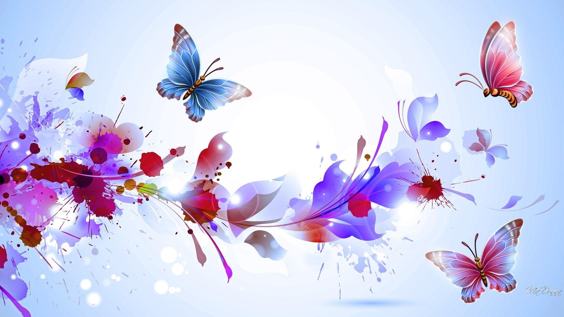 The Picture With Butterflies For Background Abstract Colorful Flowers