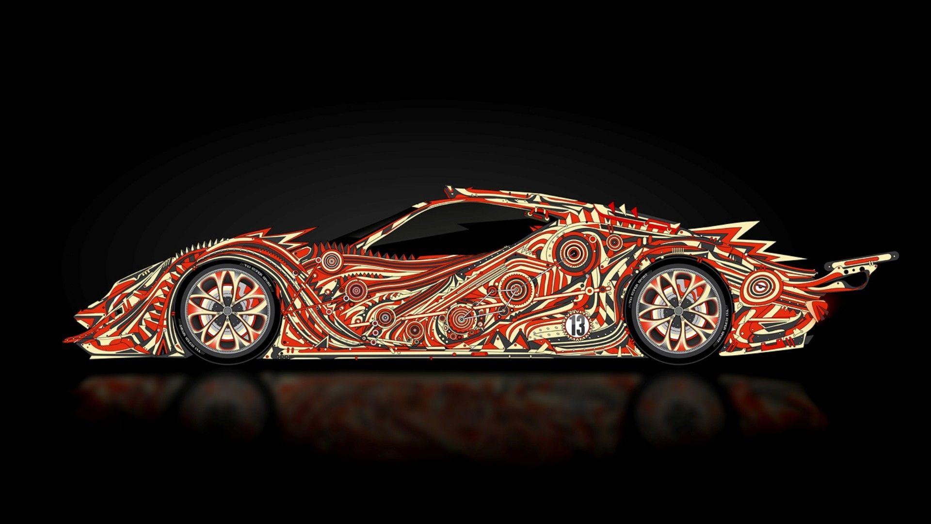 Tony Kokhan Lamborghini & A Ferrari Fire Wallpaper
