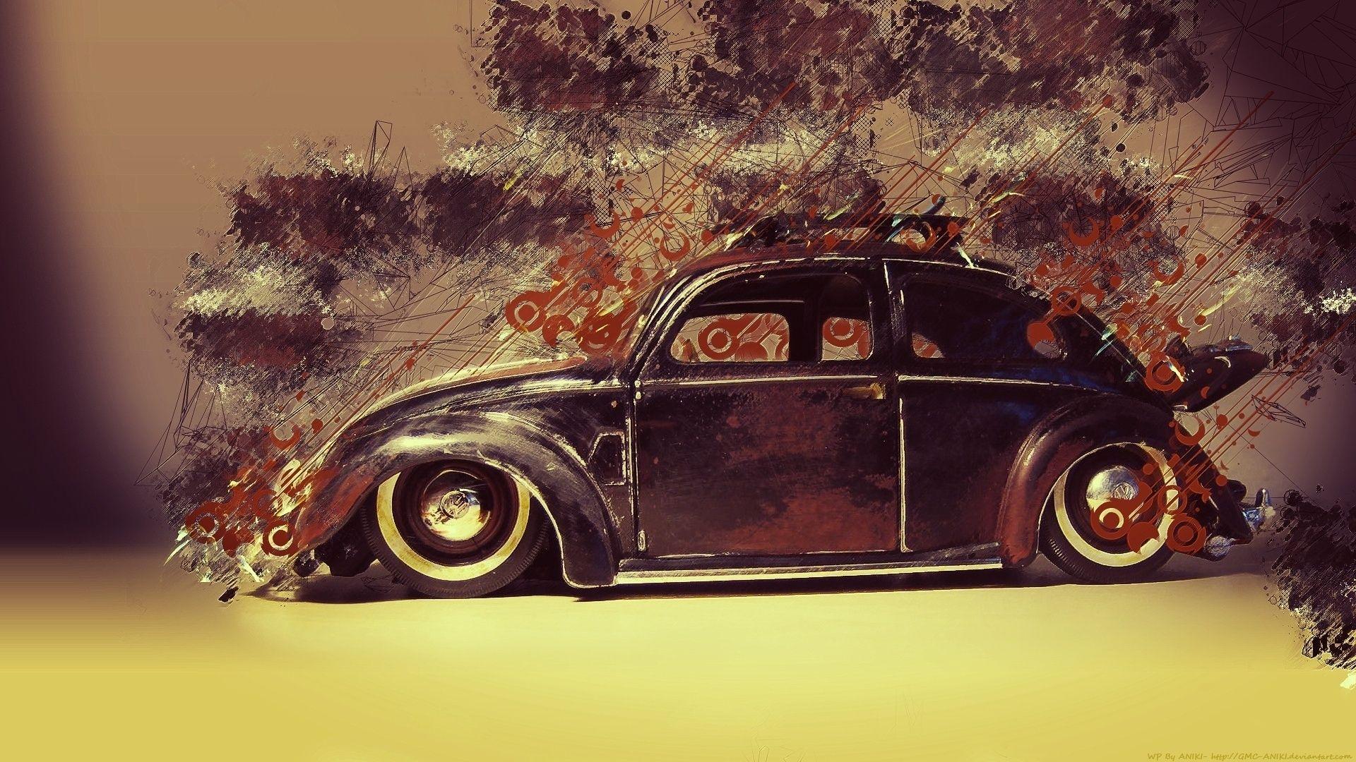 Vintage Cars Graffiti Pattern, Retro Wallpaper