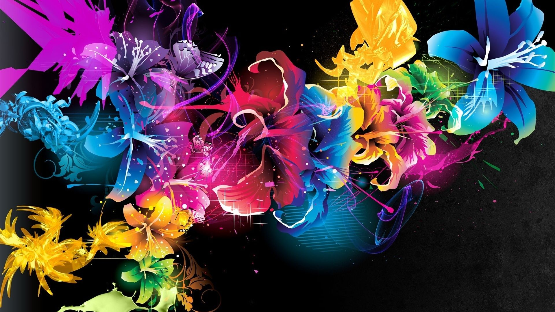 Wallpaper Abstract Flowers Desktop Abstraction Paint