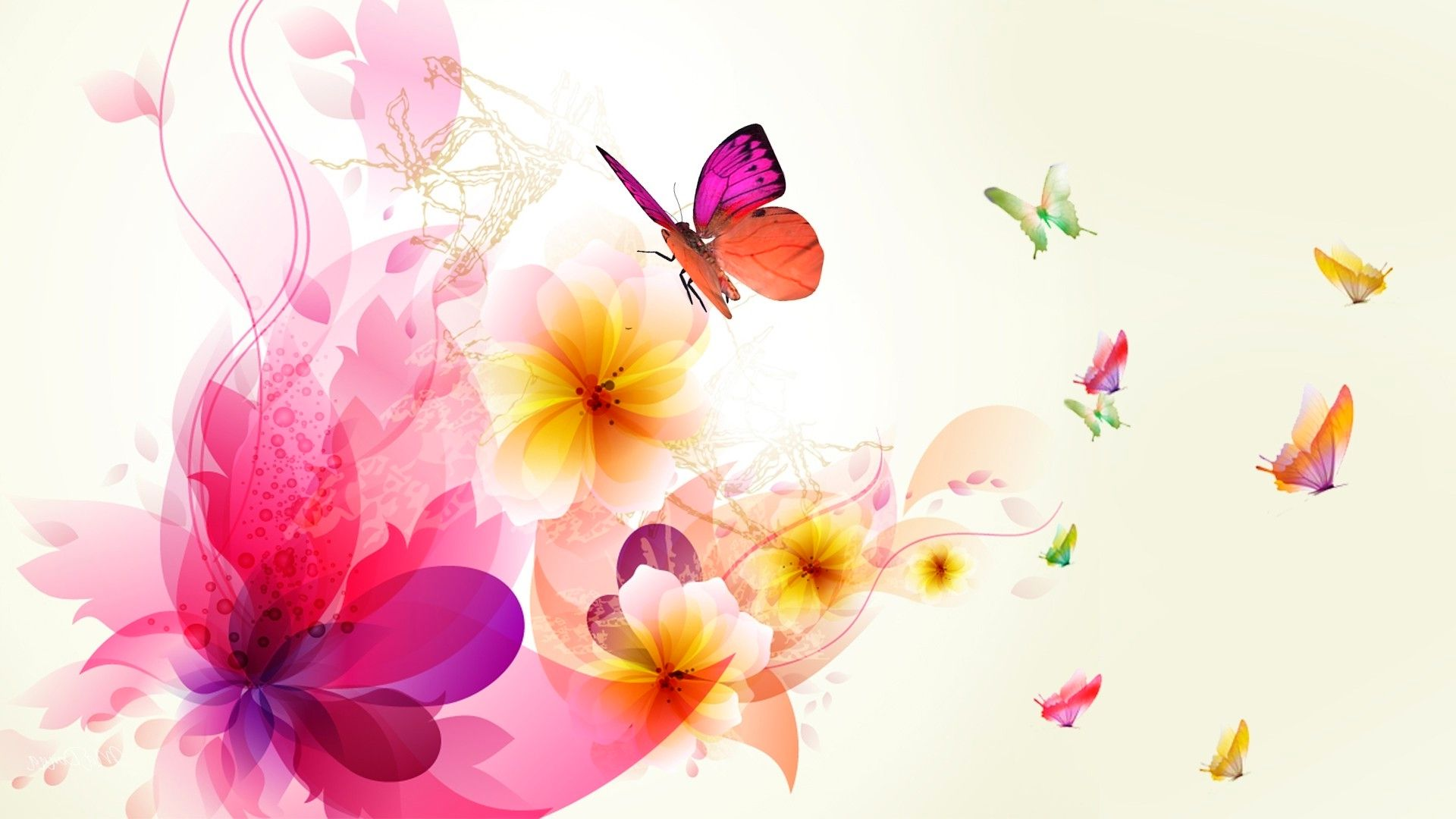 Wallpaper For Android Butterfly, Background, Horizontal, Bright Butterflies And Flowers