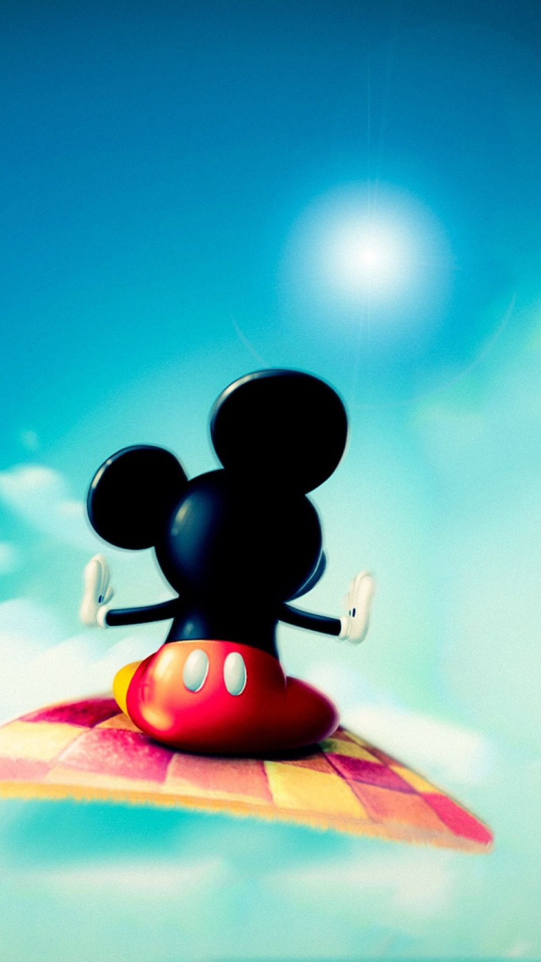 Wallpaper Mickey Mouse Flying In Sky On The Phone