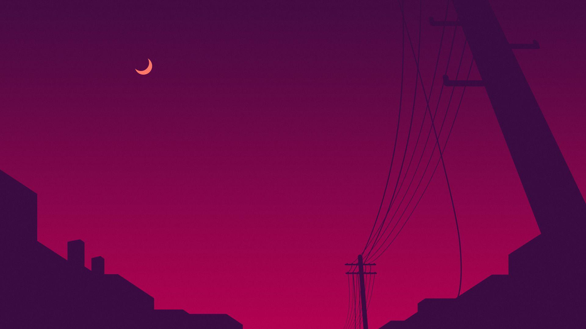 Wallpaper Minimalism Minimalist Moon