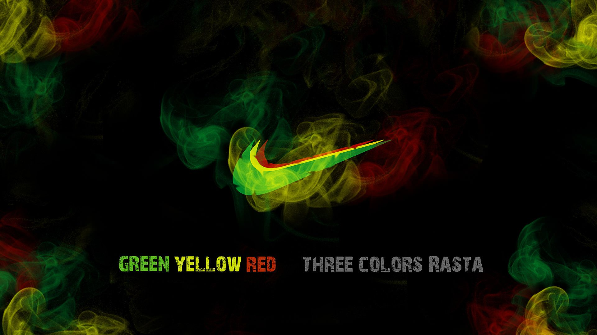 Wallpaper Nike, Smoke, Ganga, Yellow, Rasta, Sport, Green, Marijuana, Nike