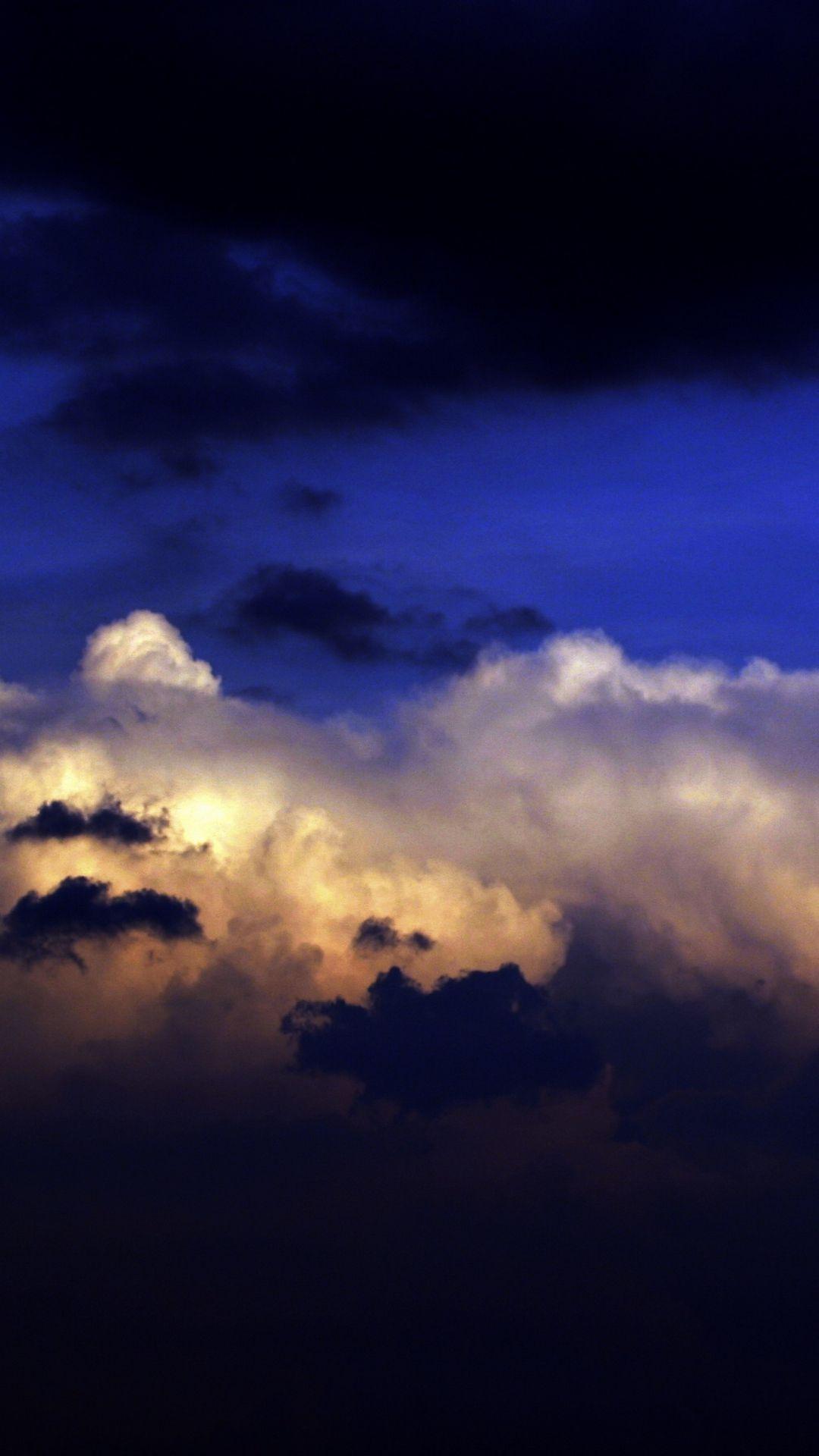 Wallpaper Clouds, Layers, Colors, Dark Blue, White, Black