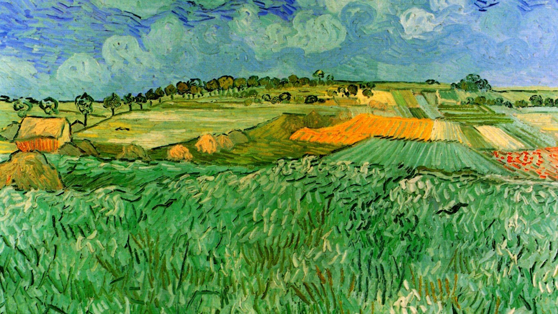 Wallpaper For Desktop Fields, Vincent Van Gogh, Auvers, Near Plain