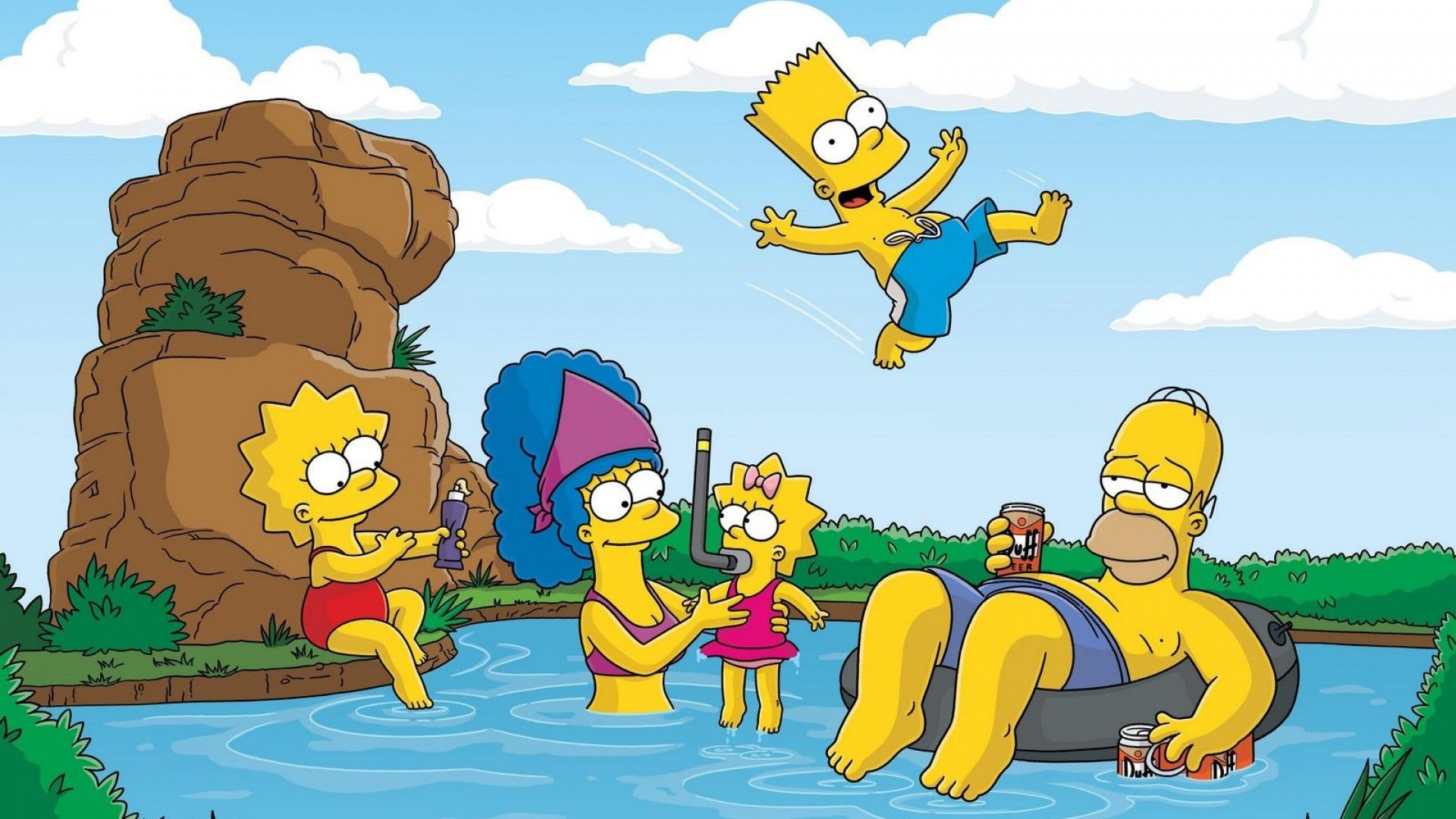 Wallpaper, Ilustrasi, Gambar Kartun, Simpsons, Homer Simpson, Bart Simpson, Marg