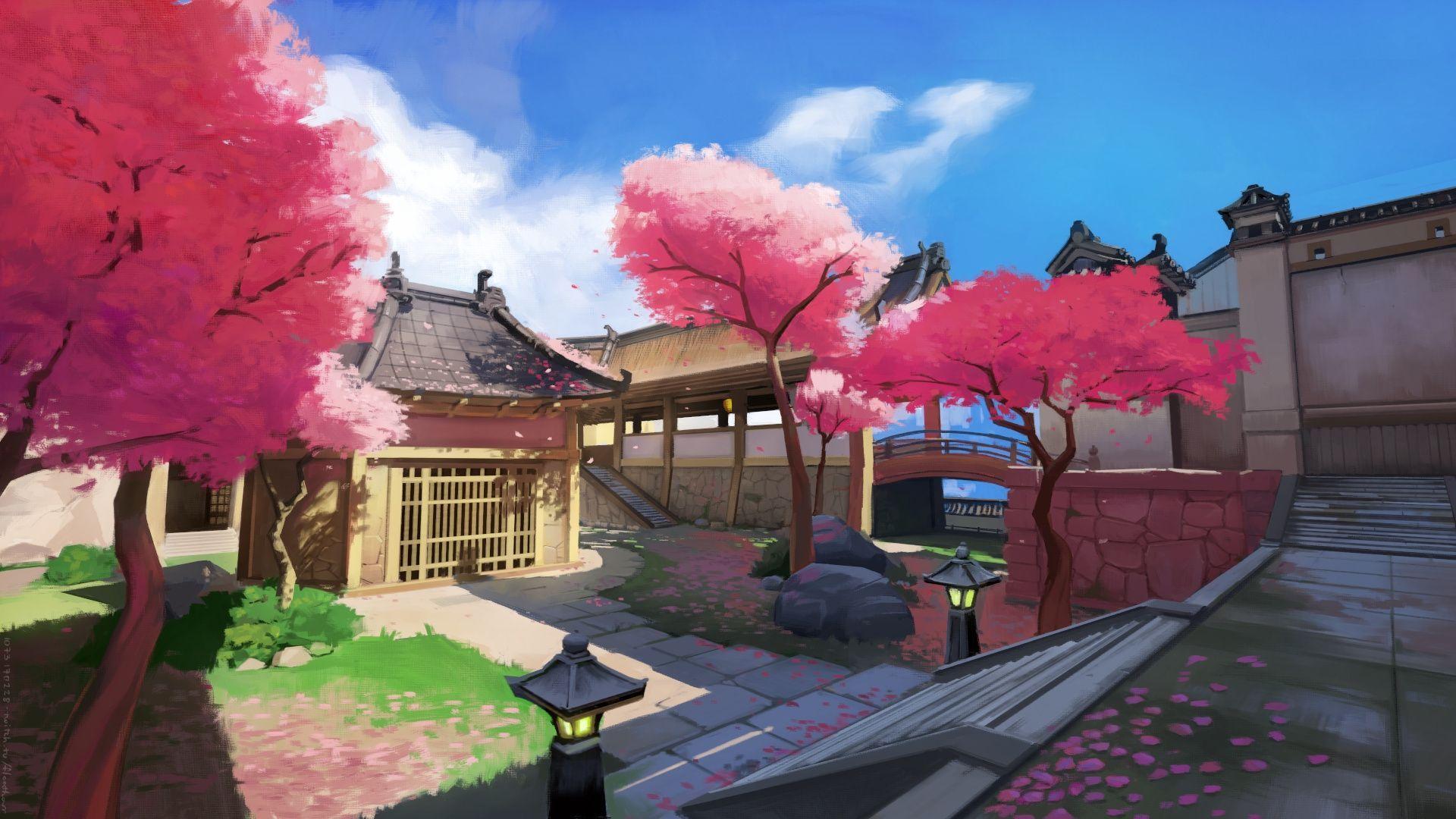 Wallpapers Hanamura Map, Overwatch, Traditional Japanese, Sakura