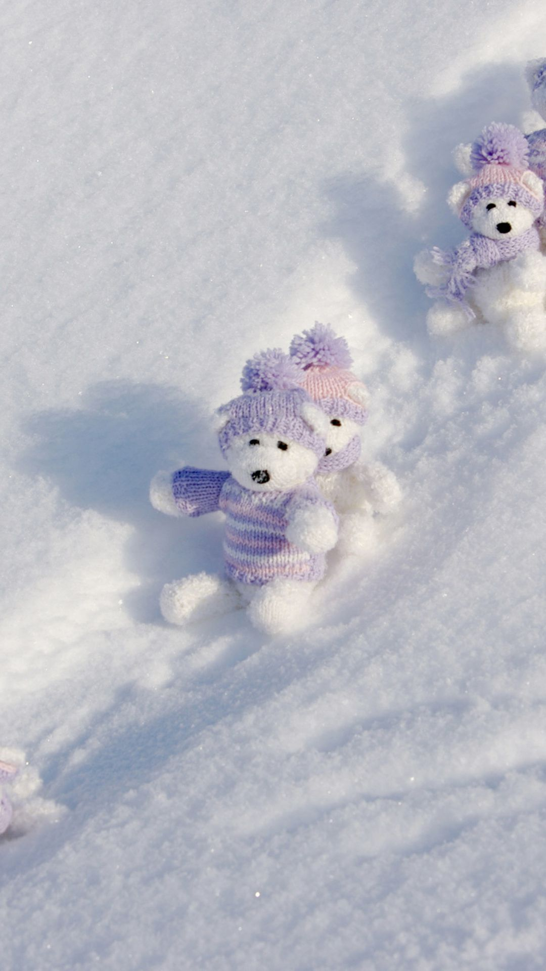 White Teddy Bears Snow Game Wallpaper For Iphone Plus