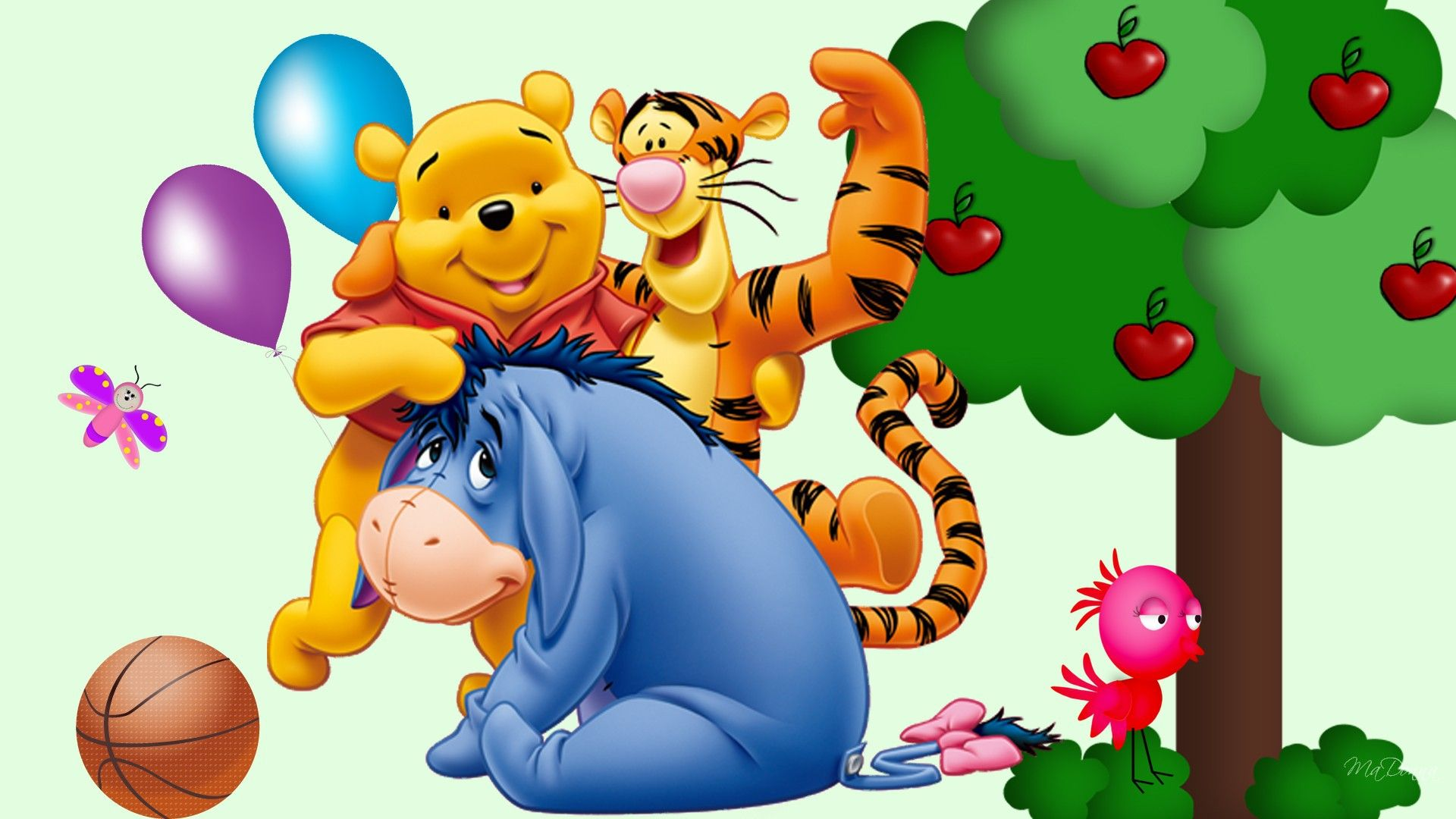 Apple Tree Basketball Winnie Tigger And Eeyore Animals Other Hd Art Hd Wall