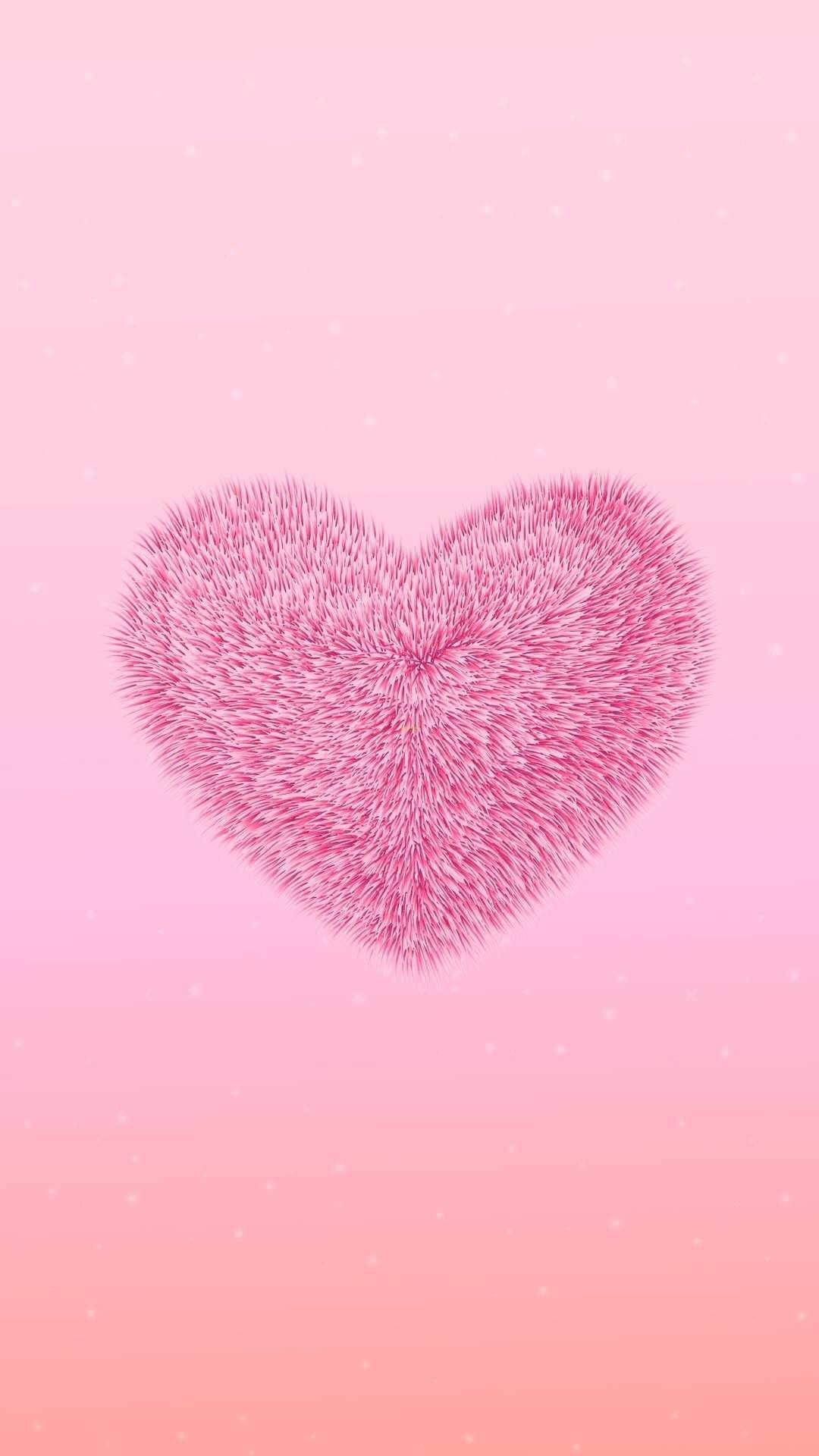 Heart, Pink, Love, Heart, Illustration, Valentines Day, Iphone Wallpaper