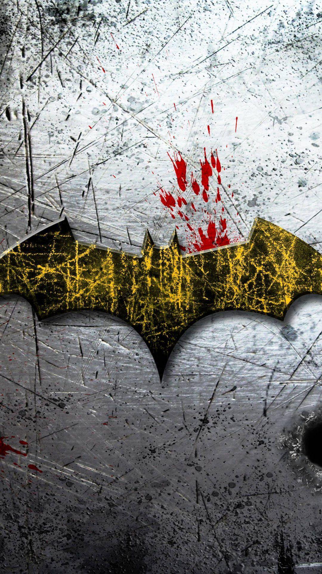 Iphone Plussplusplus Batman Asylum Logo On Scratched Background