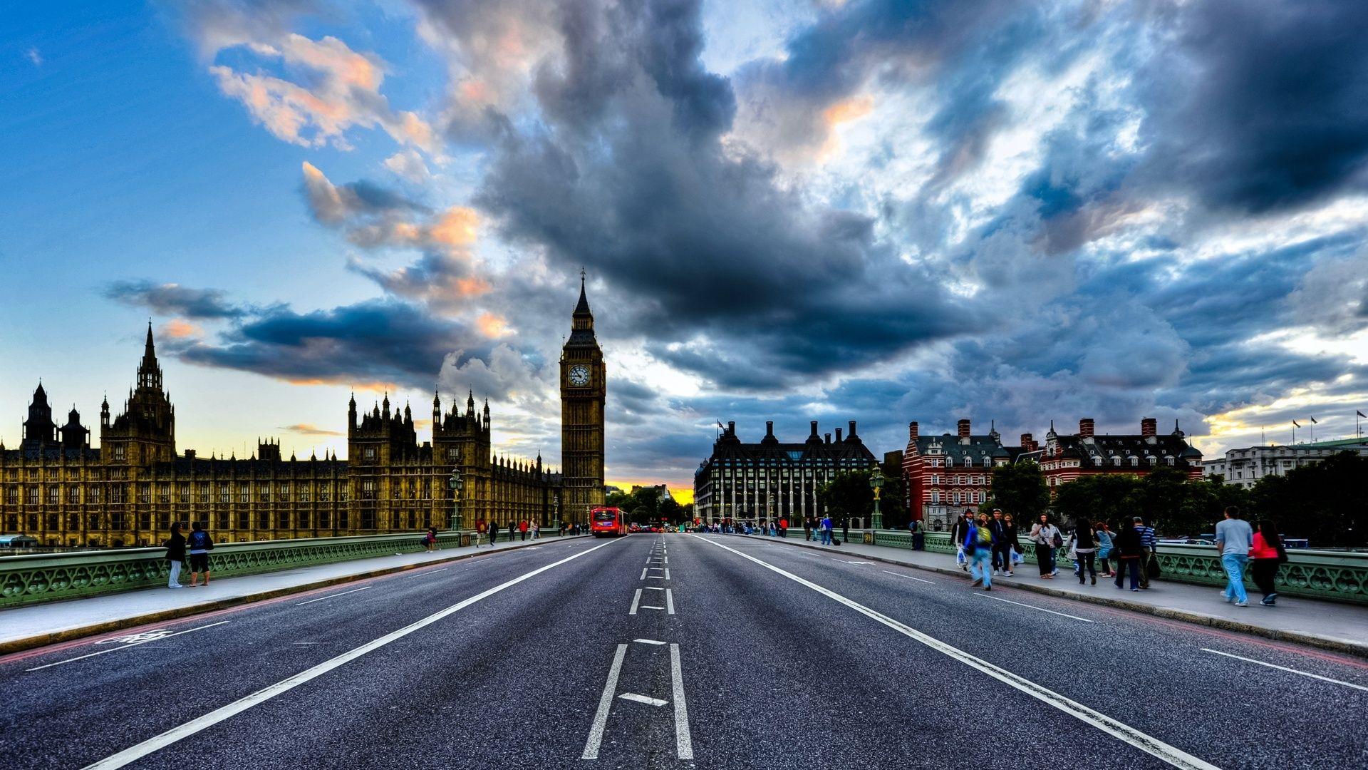 London, англия, Big Ben, England, Uk, Westminster Palace, Clouds