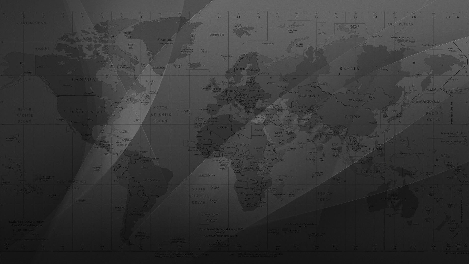 Maps Monochrome World Map Greyscale View, Change The Size