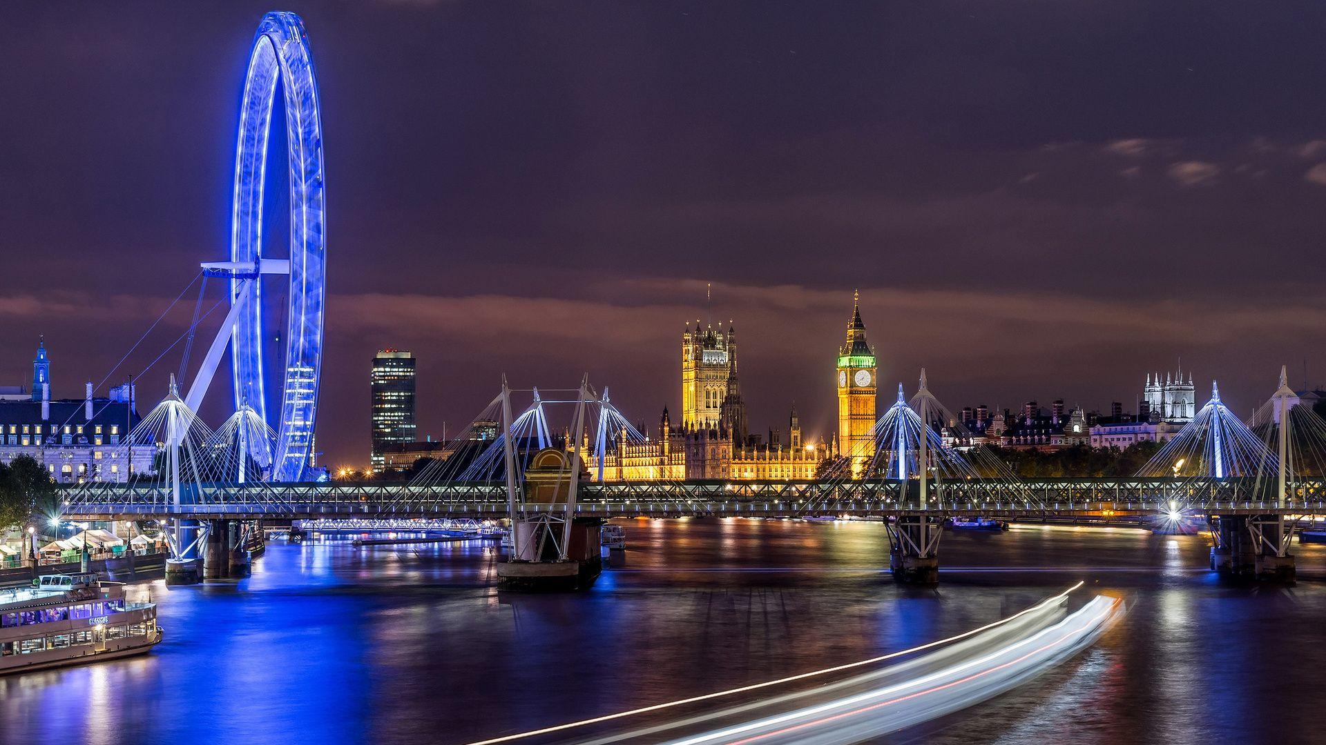 Night, Thames, London, Lights, England, River, City
