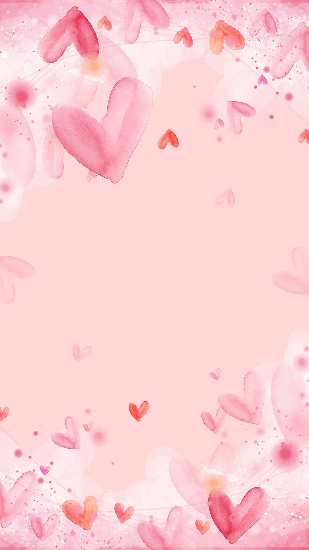 Pink Frame Decoration Design Background Heart Plan Art