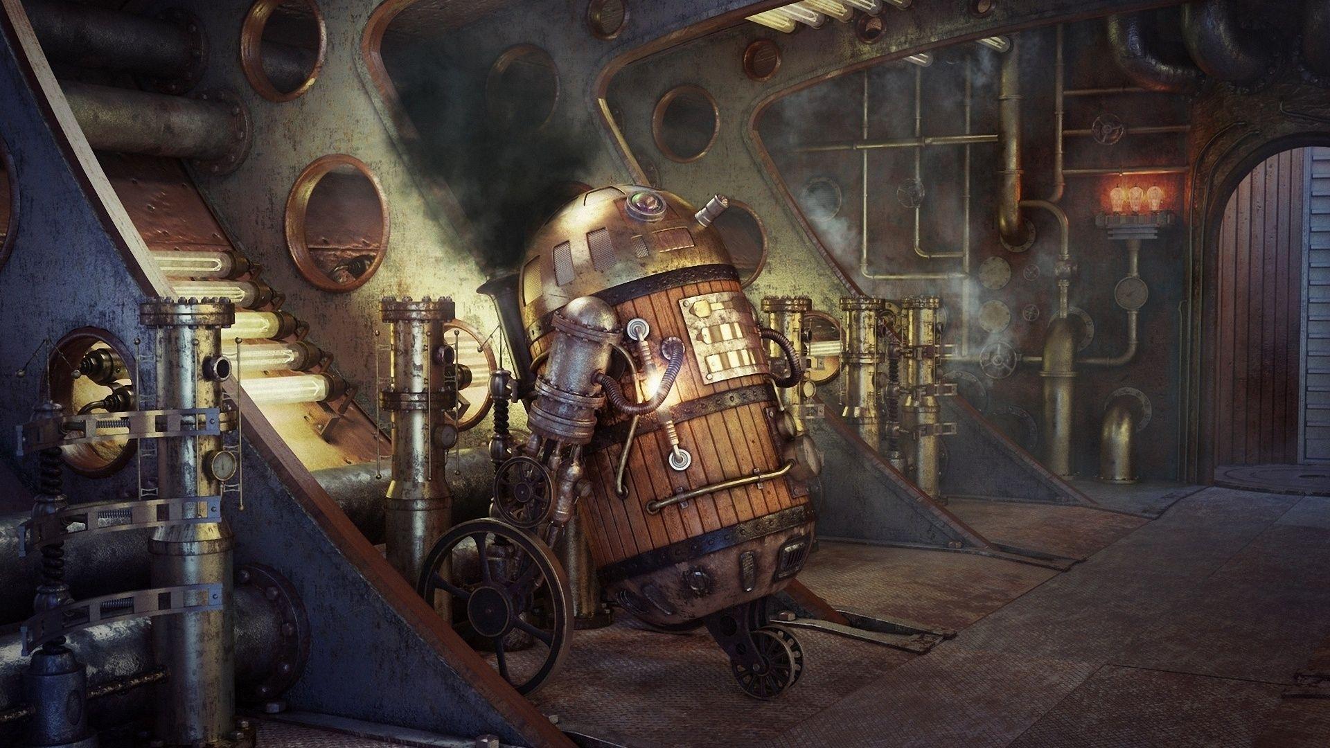 Rd, Star Wars, Art, Robot, Pipe, Steampunk , Smoke