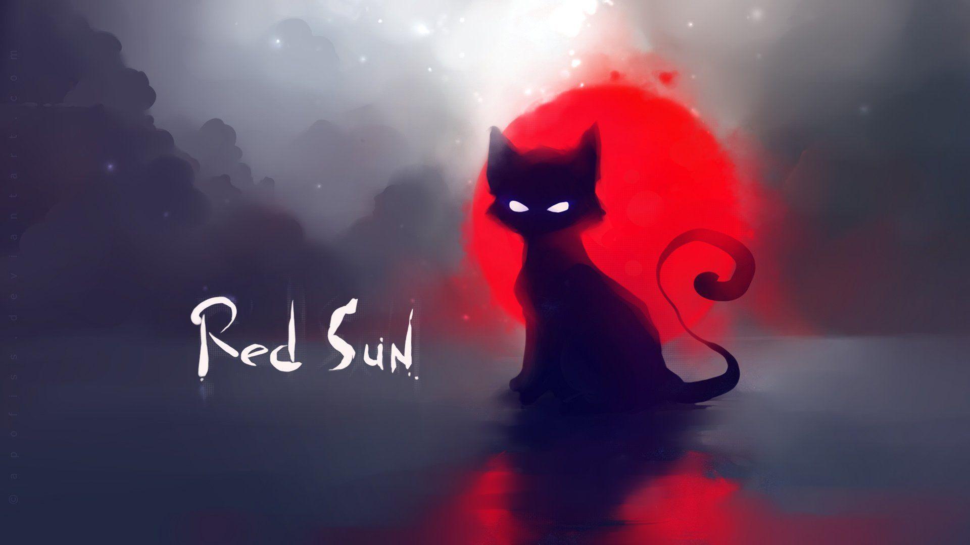 Red Sun Cat Apofiss Deviantart Hd Wallpaper