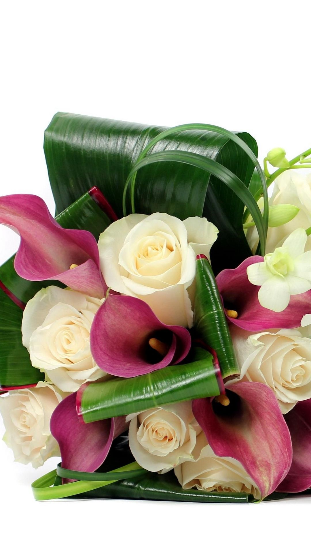 Roses Freesia White Background Bouquet Of Calla Leaves