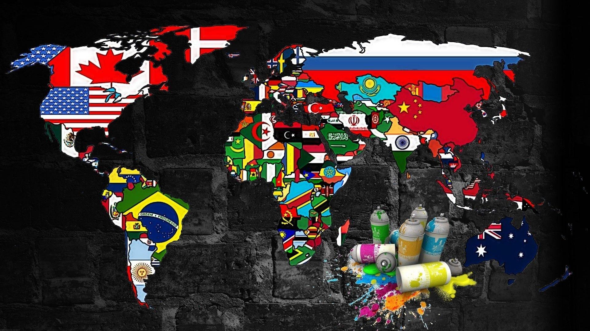 World, Murales, Spray, Map, Graffiti Wallpapers H