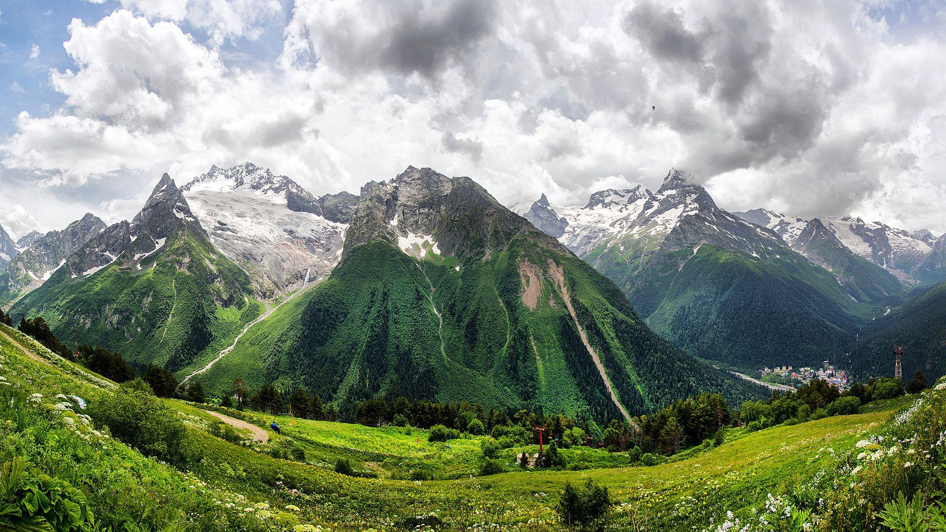 Caucasus Mountains Dombai Panoramic Photo