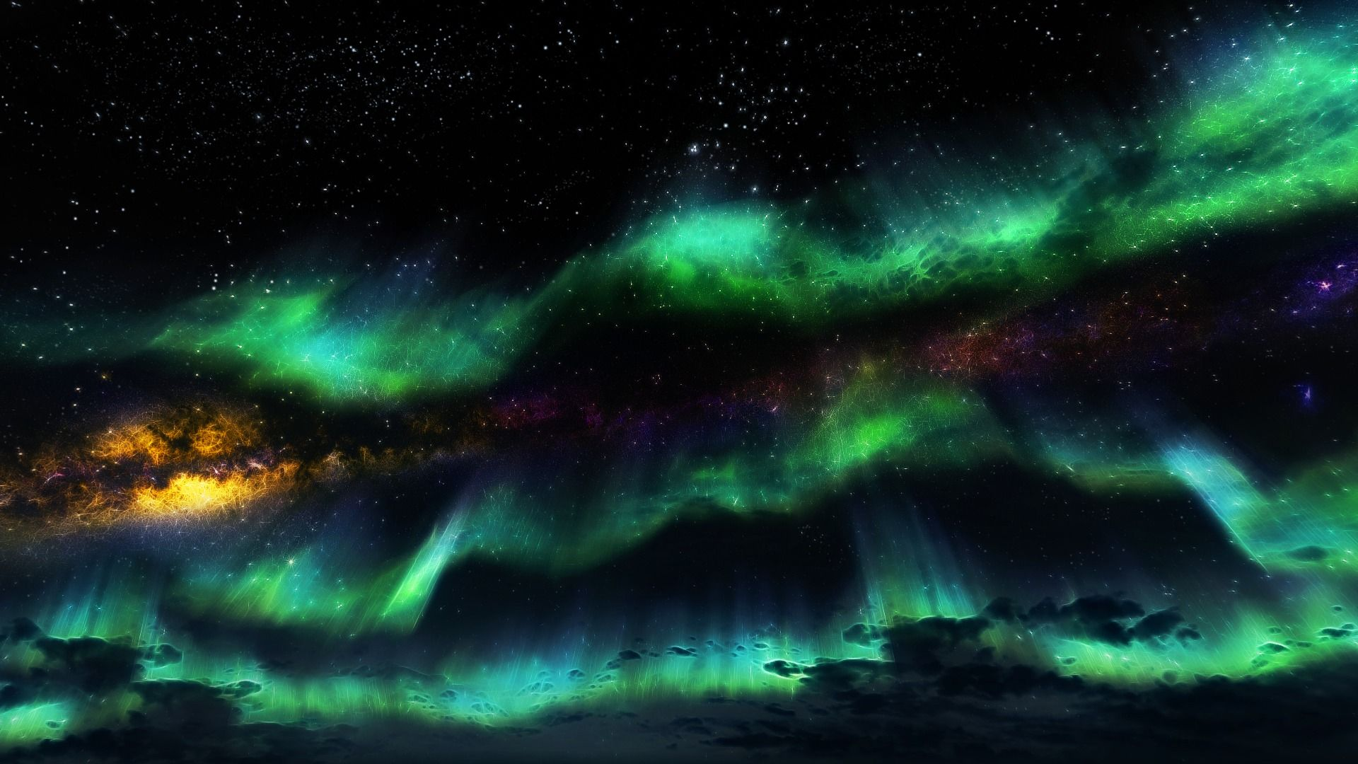Northern Lights Wallpaper Starry Sky