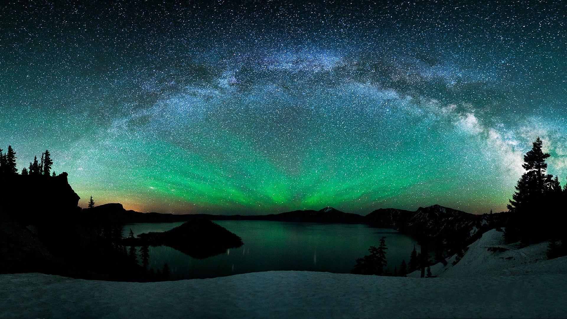 Northern Lights Panorama Of Stars