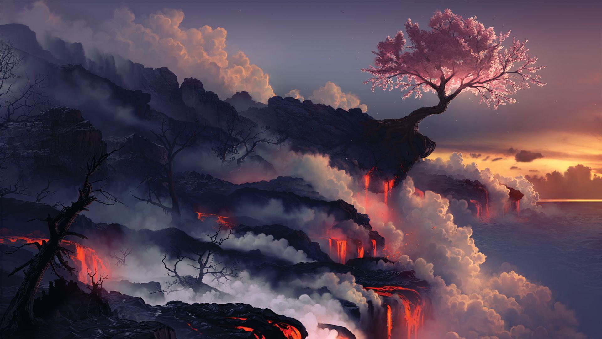 Sakura On The Edge Of The Volcano